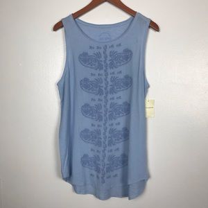 Lucky Brand Lt. Blue Embroidered  Tank. NWT  SZXL